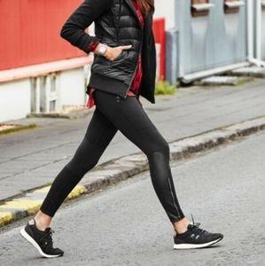 Athleta Ponte Luxe Legging black moto style zipper